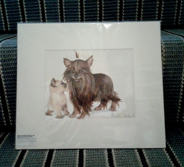 Original watercolour of Kitten with Yorkie terrier